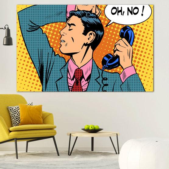 Canvas prints & wall decorative panels - 1 piece №0814 » Turquoise, Yellow, Orange, Black, Beige » Fashion, Graphic, Cartoon, Design, Man, Style, Cartoon people, Face, Comic book Form #1