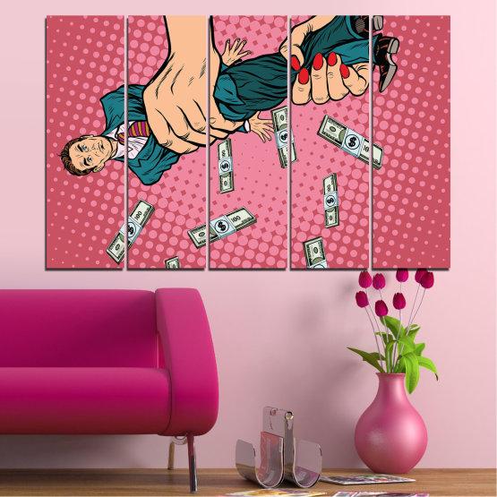 Εκτύπωση σε καμβά και διακοσμητικά πάνελ τοίχου - 5 τεμάχια №0815 » Ροζ, Πορτοκάλι, Μαύρος, Μπεζ, Γαλακτώδες ροζ » Ρετρό, Κινούμενα σχέδια, Σχέδιο, , , ,  Form #2