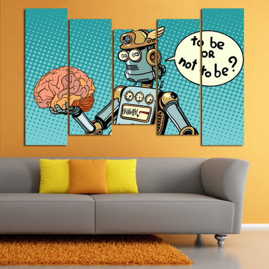 Canvas prints & wall decorative panels - 5 pieces №0817 » Blue, Turquoise, Black, Gray, White » Graphic, Cartoon, Design, Comics, Amusing, Fun Form #4