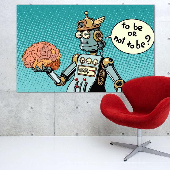 Canvas prints & wall decorative panels - 1 piece №0817 » Blue, Turquoise, Black, Gray, White » Graphic, Cartoon, Design, Comics, Amusing, Fun Form #1