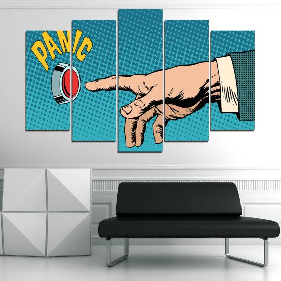 Декоративни панели и картини от канава - от 5 части №0818 » Син, Тюркоаз, Черен, Бежов » Графичен, Комикс, Дизайн Form #1