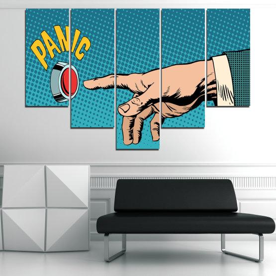 Декоративни панели и картини от канава - от 5 части №0818 » Син, Тюркоаз, Черен, Бежов » Графичен, Комикс, Дизайн Form #6