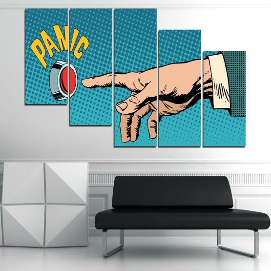 Декоративни панели и картини от канава - от 5 части №0818 » Син, Тюркоаз, Черен, Бежов » Графичен, Комикс, Дизайн Form #7