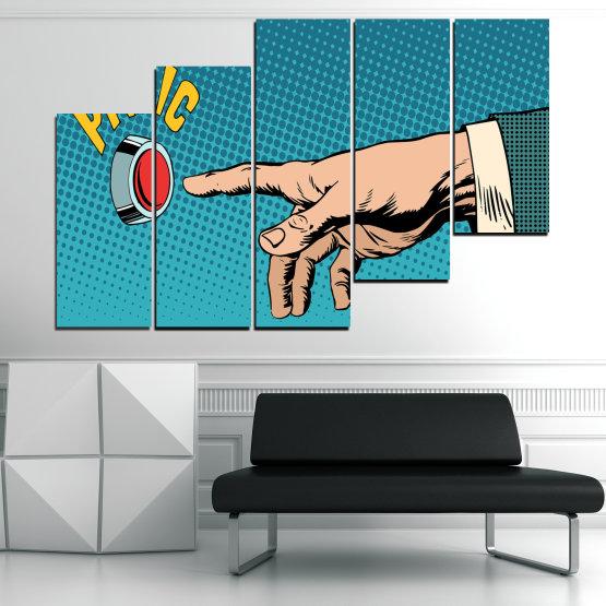 Декоративни панели и картини от канава - от 5 части №0818 » Син, Тюркоаз, Черен, Бежов » Графичен, Комикс, Дизайн Form #8