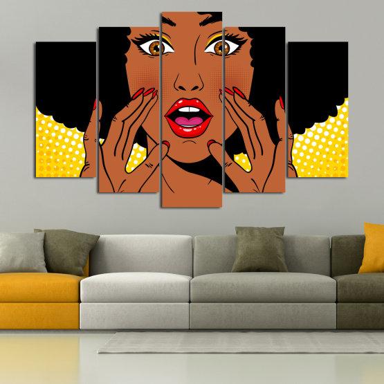 Canvas prints & wall decorative panels - 5 pieces №0819 » Yellow, Orange, Black, White » Graphic, Cartoon, Design, Face, Comic Form #1