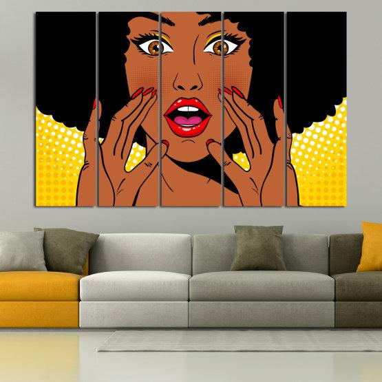 Canvas prints & wall decorative panels - 5 pieces №0819 » Yellow, Orange, Black, White » Graphic, Cartoon, Design, Face, Comic Form #2