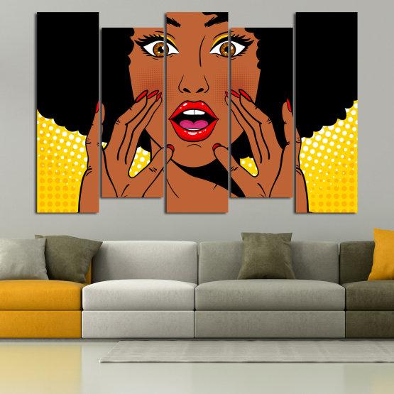 Canvas prints & wall decorative panels - 5 pieces №0819 » Yellow, Orange, Black, White » Graphic, Cartoon, Design, Face, Comic Form #3