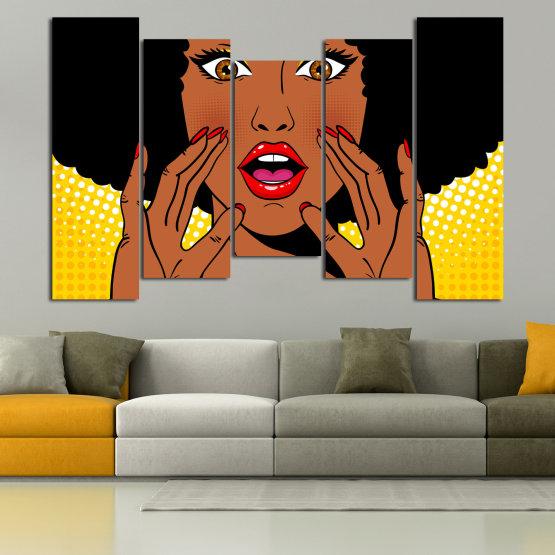 Canvas prints & wall decorative panels - 5 pieces №0819 » Yellow, Orange, Black, White » Graphic, Cartoon, Design, Face, Comic Form #4