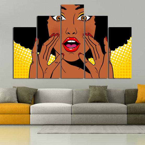 Canvas prints & wall decorative panels - 5 pieces №0819 » Yellow, Orange, Black, White » Graphic, Cartoon, Design, Face, Comic Form #5