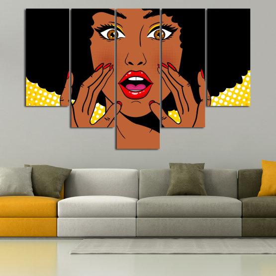 Canvas prints & wall decorative panels - 5 pieces №0819 » Yellow, Orange, Black, White » Graphic, Cartoon, Design, Face, Comic Form #6