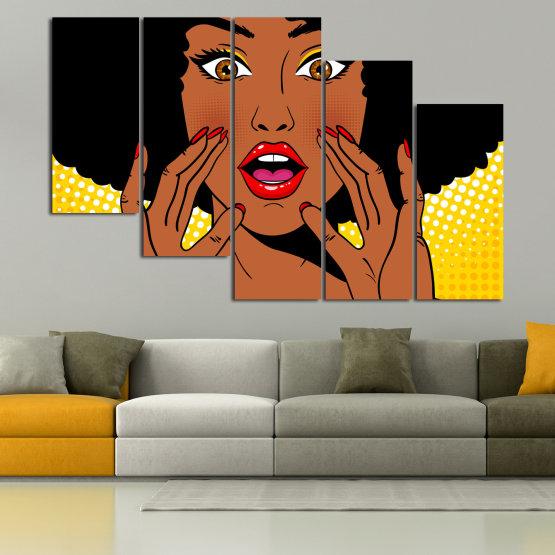 Canvas prints & wall decorative panels - 5 pieces №0819 » Yellow, Orange, Black, White » Graphic, Cartoon, Design, Face, Comic Form #7