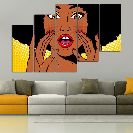 Canvas prints & wall decorative panels - 5 pieces №0819 » Yellow, Orange, Black, White » Graphic, Cartoon, Design, Face, Comic Form #8