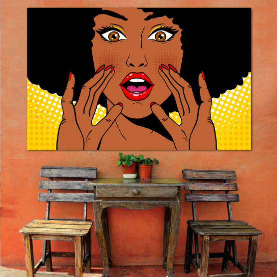 Canvas prints & wall decorative panels - 1 piece №0819 » Yellow, Orange, Black, White » Graphic, Cartoon, Design, Comic, Face Form #1