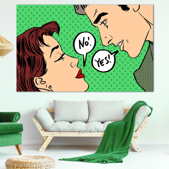 Canvas prints & wall decorative panels - 1 piece №0820 » Green, Brown, Black, Gray, Beige » Smile, Retro, Artistic, Graphic, Color, Cartoon, Design, Vintage, Comic, Romantic Form #1