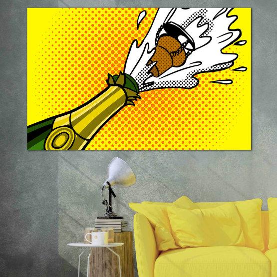 Canvas prints & wall decorative panels - 1 piece №0821 » Green, Yellow, Orange, Black, White » Retro, Graphic, Cartoon, Design, Dots, Celebration, Party Form #1