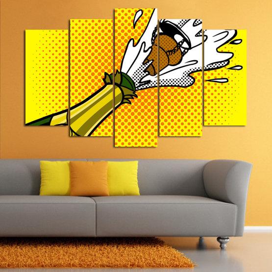 Canvas prints & wall decorative panels - 5 pieces №0821 » Green, Yellow, Orange, Black, White » Retro, Graphic, Cartoon, Design, Celebration, Dots, Party Form #1