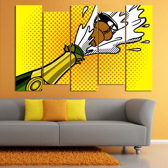 Canvas prints & wall decorative panels - 5 pieces №0821 » Green, Yellow, Orange, Black, White » Retro, Graphic, Cartoon, Design, Celebration, Dots, Party Form #3