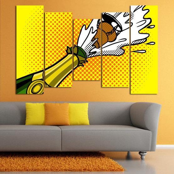 Canvas prints & wall decorative panels - 5 pieces №0821 » Green, Yellow, Orange, Black, White » Retro, Graphic, Cartoon, Design, Celebration, Dots, Party Form #4