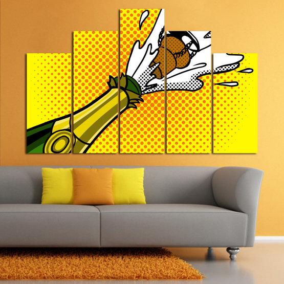 Canvas prints & wall decorative panels - 5 pieces №0821 » Green, Yellow, Orange, Black, White » Retro, Graphic, Cartoon, Design, Celebration, Dots, Party Form #5