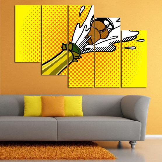 Canvas prints & wall decorative panels - 5 pieces №0821 » Green, Yellow, Orange, Black, White » Retro, Graphic, Cartoon, Design, Celebration, Dots, Party Form #7