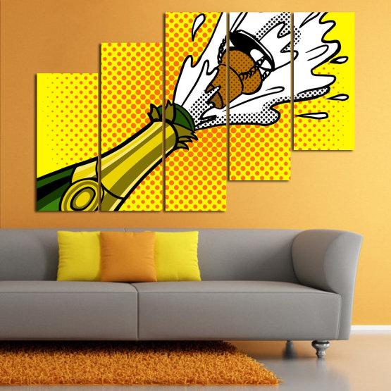 Canvas prints & wall decorative panels - 5 pieces №0821 » Green, Yellow, Orange, Black, White » Retro, Graphic, Cartoon, Design, Celebration, Dots, Party Form #8