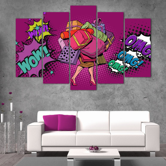 Canvas prints & wall decorative panels - 5 pieces №0822 » Red, Turquoise, Black, Gray, Dark grey » Modern, Retro, Fashion, Graphic, Dress, Cartoon, Design, Happy, Style, Women, Fun Form #1