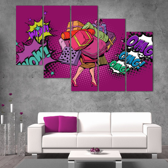 Canvas prints & wall decorative panels - 5 pieces №0822 » Red, Turquoise, Black, Gray, Dark grey » Modern, Retro, Fashion, Graphic, Dress, Cartoon, Design, Happy, Style, Women, Fun Form #7