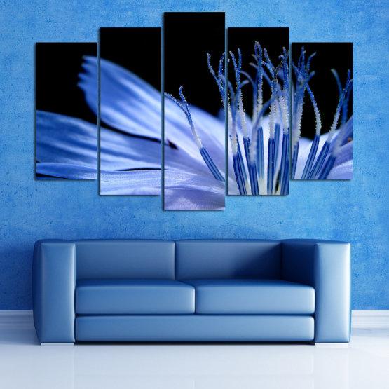 Декоративни панели и картини от канава - от 5 части №0823 » Син, Тюркоаз, Черен, Сив » Абстракция, Цвете, Светлина, Растение,  Form #1