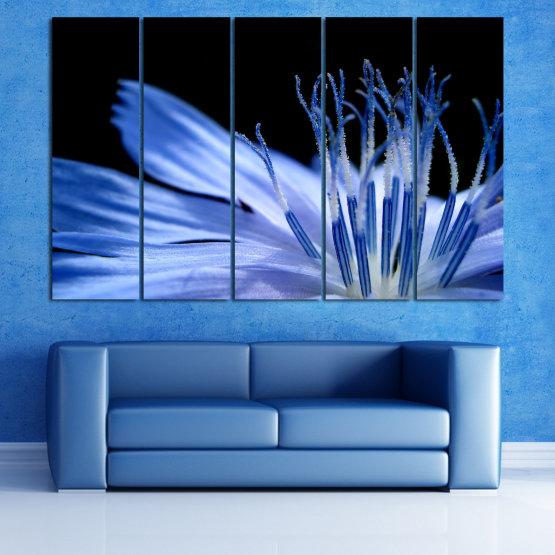 Декоративни панели и картини от канава - от 5 части №0823 » Син, Тюркоаз, Черен, Сив » Абстракция, Цвете, Светлина, Растение,  Form #2