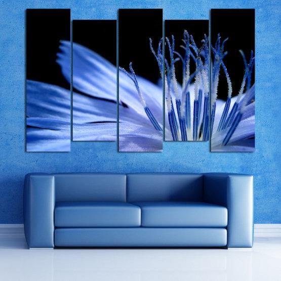 Декоративни панели и картини от канава - от 5 части №0823 » Син, Тюркоаз, Черен, Сив » Абстракция, Цвете, Светлина, Растение,  Form #3