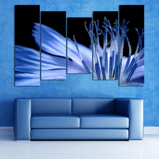 Декоративни панели и картини от канава - от 5 части №0823 » Син, Тюркоаз, Черен, Сив » Абстракция, Цвете, Светлина, Растение,  Form #4