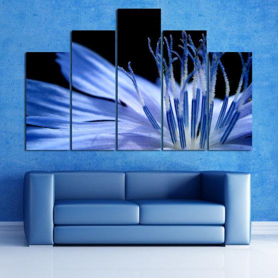 Декоративни панели и картини от канава - от 5 части №0823 » Син, Тюркоаз, Черен, Сив » Абстракция, Цвете, Светлина, Растение,  Form #5