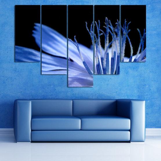 Декоративни панели и картини от канава - от 5 части №0823 » Син, Тюркоаз, Черен, Сив » Абстракция, Цвете, Светлина, Растение,  Form #6