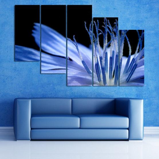 Декоративни панели и картини от канава - от 5 части №0823 » Син, Тюркоаз, Черен, Сив » Абстракция, Цвете, Светлина, Растение,  Form #7