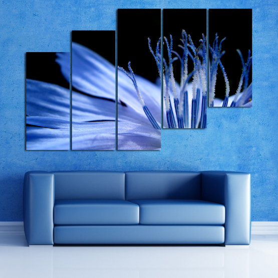 Декоративни панели и картини от канава - от 5 части №0823 » Син, Тюркоаз, Черен, Сив » Абстракция, Цвете, Светлина, Растение,  Form #8