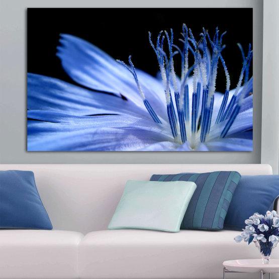 Εκτύπωση σε καμβά και διακοσμητικά πάνελ τοίχου - 1 τεμάχιο №0823 » Μπλε, Τουρκουάζ, Μαύρος, Γκρί » Αφαίρεση, Λουλούδι, Φως, Φυτό, Closeup Form #1