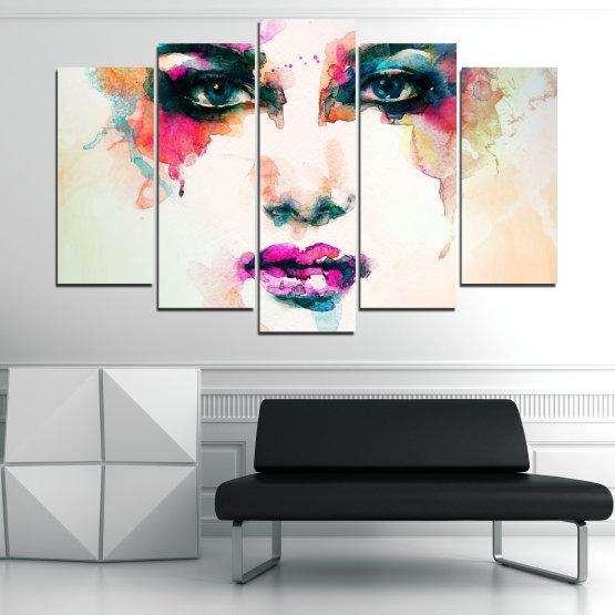 Декоративни панели и картини от канава - от 5 части №0824 » Сив, Бял, Бежов, Тъмно сив » Изкуство, Портрет, Мода, Грим, , ,  Form #1
