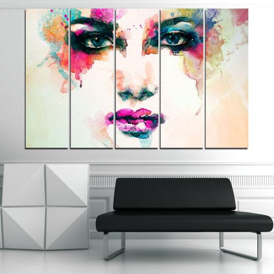 Декоративни панели и картини от канава - от 5 части №0824 » Сив, Бял, Бежов, Тъмно сив » Изкуство, Портрет, Мода, Грим, , ,  Form #2