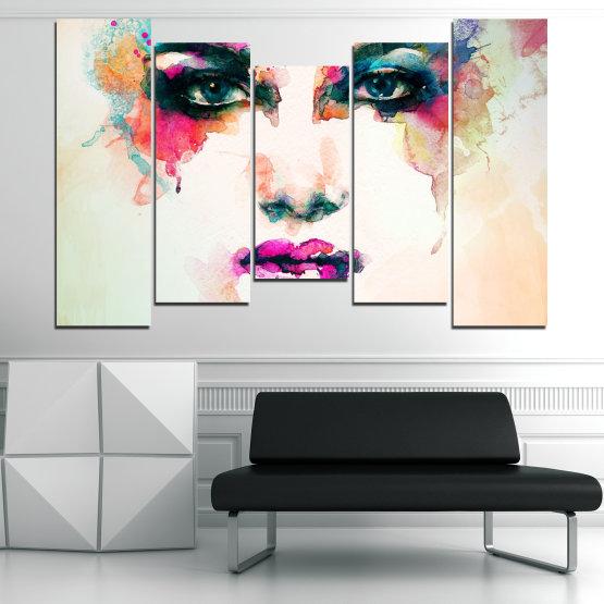 Декоративни панели и картини от канава - от 5 части №0824 » Сив, Бял, Бежов, Тъмно сив » Изкуство, Портрет, Мода, Грим, , ,  Form #4