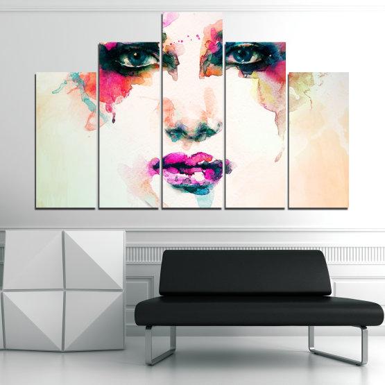 Декоративни панели и картини от канава - от 5 части №0824 » Сив, Бял, Бежов, Тъмно сив » Изкуство, Портрет, Мода, Грим, , ,  Form #5
