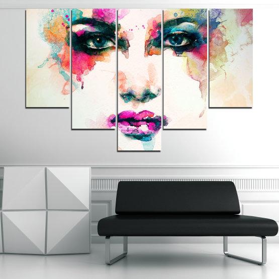 Декоративни панели и картини от канава - от 5 части №0824 » Сив, Бял, Бежов, Тъмно сив » Изкуство, Портрет, Мода, Грим, , ,  Form #6