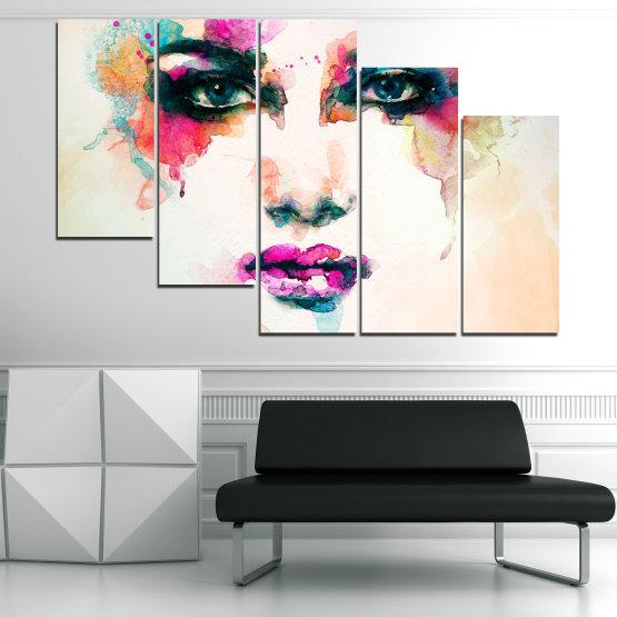 Декоративни панели и картини от канава - от 5 части №0824 » Сив, Бял, Бежов, Тъмно сив » Изкуство, Портрет, Мода, Грим, , ,  Form #7