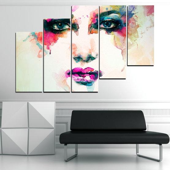 Декоративни панели и картини от канава - от 5 части №0824 » Сив, Бял, Бежов, Тъмно сив » Изкуство, Портрет, Мода, Грим, , ,  Form #8