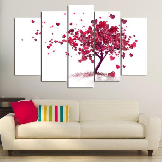 Декоративни панели и картини от канава - от 5 части №0825 » Червен, Розов, Сив, Бял » Изкуство, Дърво, Листа, Цвят, Обичам, , , ,  Form #1