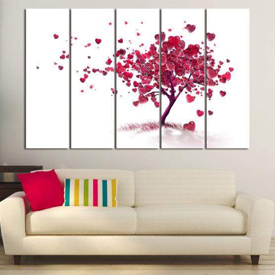 Декоративни панели и картини от канава - от 5 части №0825 » Червен, Розов, Сив, Бял » Изкуство, Дърво, Листа, Цвят, Обичам, , , ,  Form #2