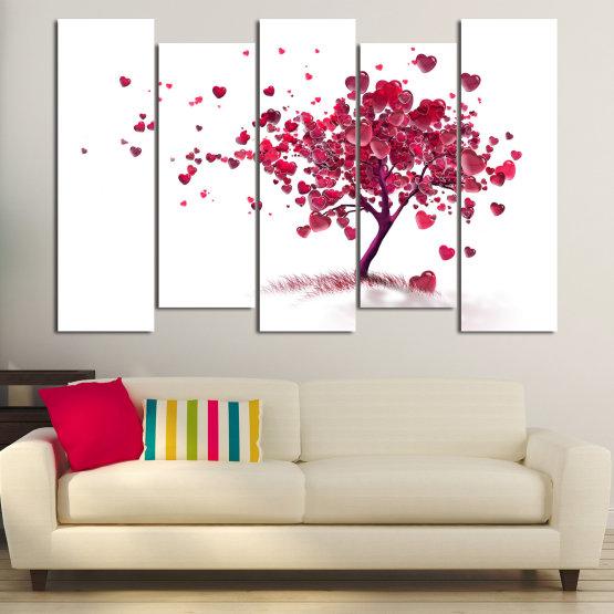 Декоративни панели и картини от канава - от 5 части №0825 » Червен, Розов, Сив, Бял » Изкуство, Дърво, Листа, Цвят, Обичам, , , ,  Form #3
