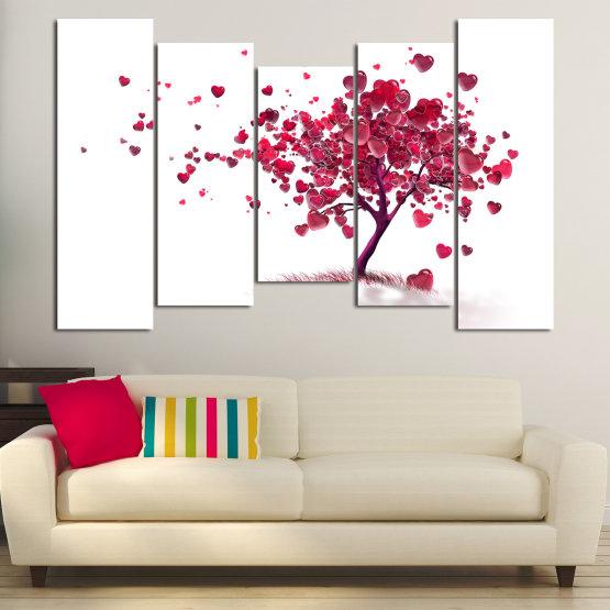 Декоративни панели и картини от канава - от 5 части №0825 » Червен, Розов, Сив, Бял » Изкуство, Дърво, Листа, Цвят, Обичам, , , ,  Form #4