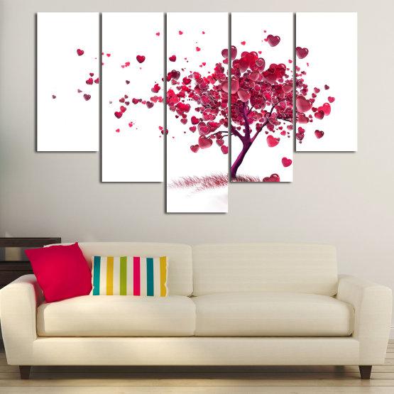 Декоративни панели и картини от канава - от 5 части №0825 » Червен, Розов, Сив, Бял » Изкуство, Дърво, Листа, Цвят, Обичам, , , ,  Form #6