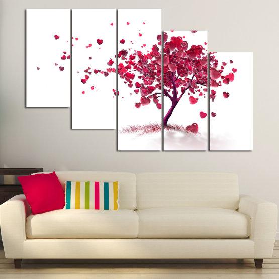 Декоративни панели и картини от канава - от 5 части №0825 » Червен, Розов, Сив, Бял » Изкуство, Дърво, Листа, Цвят, Обичам, , , ,  Form #7