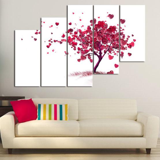 Декоративни панели и картини от канава - от 5 части №0825 » Червен, Розов, Сив, Бял » Изкуство, Дърво, Листа, Цвят, Обичам, , , ,  Form #8